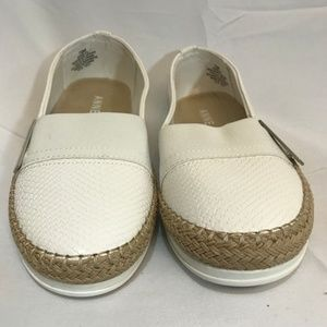 ANNE KLEIN AKZILYA White Leather Slip on Size 7.5